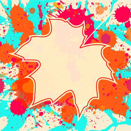 Autumn maple leaf over bright orange artistic paint background, blank frame with room for text, square format.