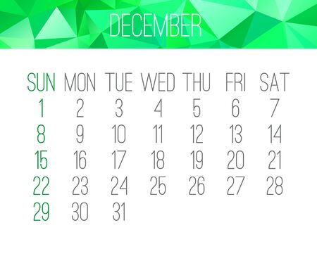 December year 2019 vector monthly calendar. Week starting from Sunday. Contemporary low poly design in green color. 일러스트