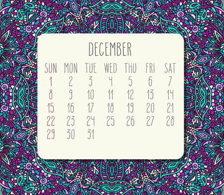 December year 2019 vector monthly calendar over teal and purple doodle ornate hand drawn background, week starting from Sunday.