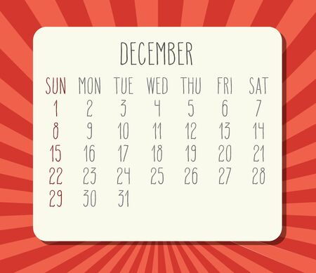 December year 2019 vector monthly calendar. Week starting from Sunday. Bright orange and red rays of light background.