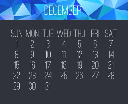 December year 2019 vector monthly calendar. Week starting from Sunday. Contemporary blue low poly design over dark gray background.