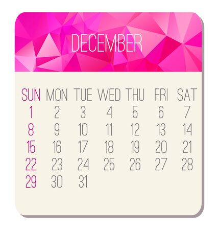 December year 2019 vector monthly calendar. Week starting from Sunday. Contemporary low poly design in pink color.