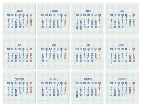 Year 2020 vector monthly calendar on a squared notebook page. Hand written chequered note pad sheet typography. Week starting from Monday.