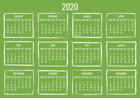 Year 2020 vector monthly modern calendar. Contemporary hand drawn brush stroke green frame design. Week starting from Monday.