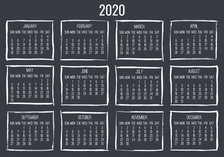 Year 2020 vector monthly modern calendar. Contemporary hand drawn brush stroke dark grey frame design. Week starting from Sunday.
