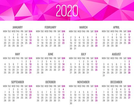 Year 2020 vector monthly modern calendar. Contemporary low poly design in bright pink color. Week starting from Monday.