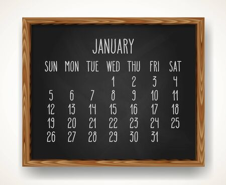 Hand written chalk vector calendar for January year 2020 over black chalkboard frame background. Week starting from Sunday.