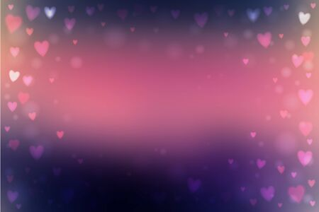 Abstract blur pink and blue background with small heart-shaped lights over it.