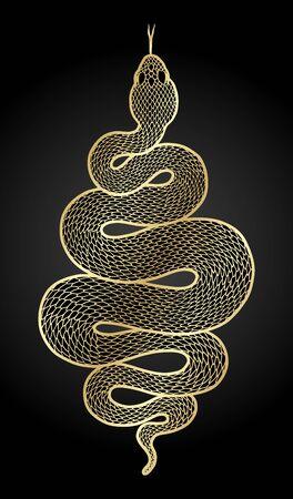 Coiled snake detailed illustration. Tribal golden serpent isolated over black background. Vector tattoo design. Çizim