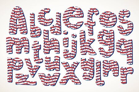 Set of hand drawn letters in American patriotic stars and stripes pattern isolated over white. 向量圖像