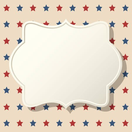 American patriotic background. United States blank vintage frame with space for text. Independence day design template. Stars backdrop. 向量圖像