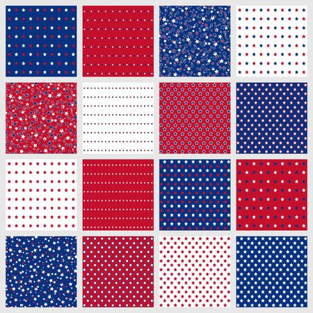 Set of American patriotic stars seamless patterns in red, blue and white. Independence Day vector backgrounds. 向量圖像