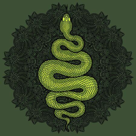 Coiled snake over floral mandala detailed illustration. Green tribal serpent isolated over dark background. Vector tattoo design. Çizim