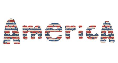 America. Vector Independence Day hand drawn lettering with stars and stripes pattern, isolated over white background. 向量圖像