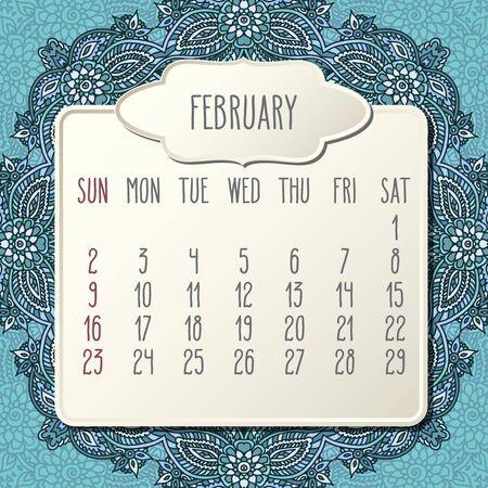 February year 2020 vector monthly calendar over doodle ornate hand drawn blue floral background, week starting from Sunday. Beige beveled frames design. Ilustração