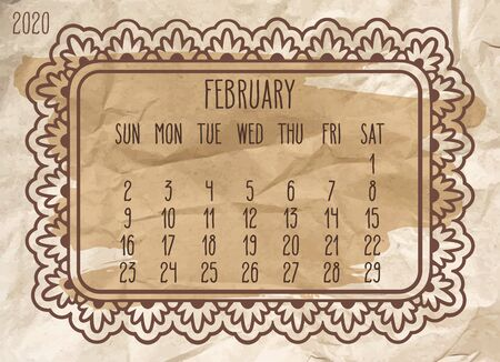 February year 2020 vector monthly calendar. Ornate frame design over vintage brown crumpled paper background. Week starting from Sunday.