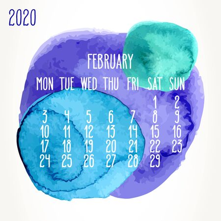 February year 2020 vector monthly artsy calendar. Hand drawn colorful blue, green and purple watercolor paint circles design over white background. Week starting from Monday.
