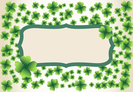 Saint Patrick's Day vintage light vector frame with small green four-leaf clover shamrock leaves. Irish festival celebration greeting card design background. Nature floral spring backdrop.