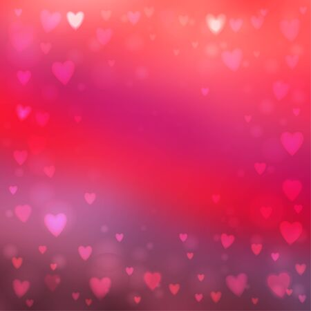 Abstract square blur pink background with small heart-shaped lights over it.  イラスト・ベクター素材