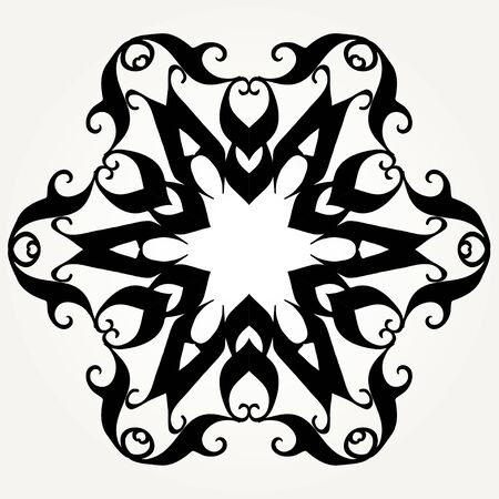 Ornate doodle round rosette in black over white backgrounds. Mandala formed with hand drawn calligraphic elements. Vecteurs