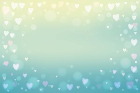 Abstract smooth blur blue background with small heart-shaped lights over it.