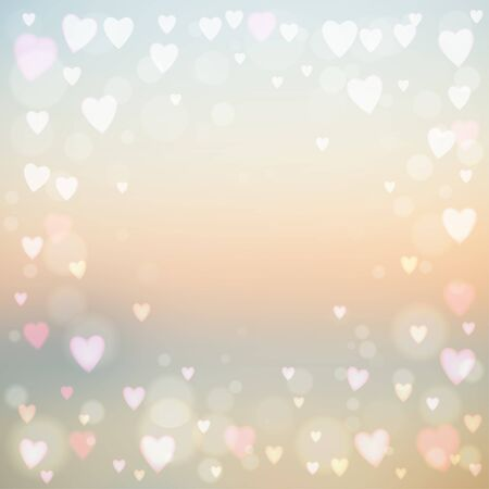 Abstract square blur background with small heart-shaped lights over it. Ilustrace