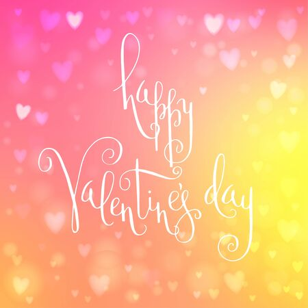 Square abstract blur yellow and pink background with heart-shaped lights over it and hand written Valentines day greetings.