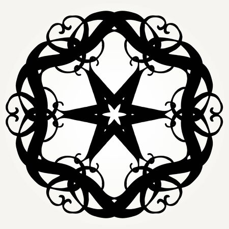 Ornate doodle round rosette in black over white backgrounds. Mandala formed with hand drawn calligraphic elements.