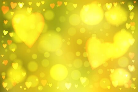 Abstract smooth blur yellow background with heart-shaped lights over it.  イラスト・ベクター素材