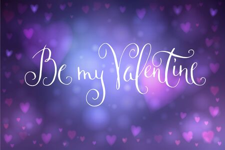 Abstract smooth blur blue background with heart-shaped lights over it and hand written Valentines day greetings.  イラスト・ベクター素材