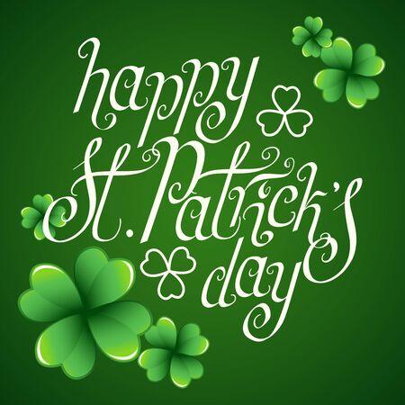 Saluti del giorno di San Patrizio disegnati a mano su sfondo verde scuro con foglie di trifoglio. Illustrazione tradizionale di vettore del festival di festa irlandese.