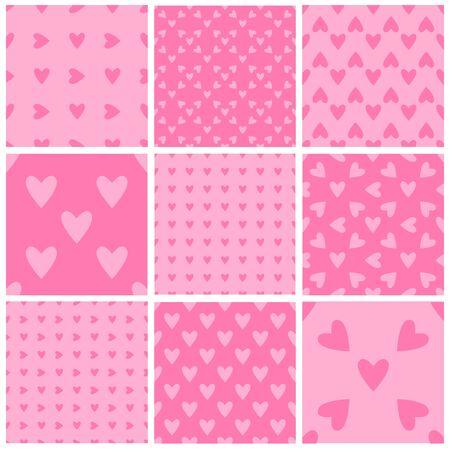 Satz nahtlose weiche rosa Herzmuster. Valentinstag Kachelhintergründe. Romantische Vektormuster.