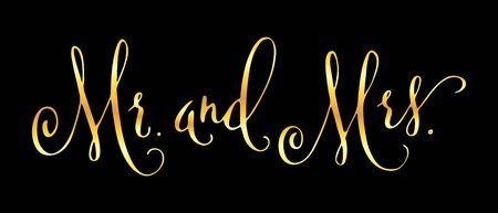 Mr anв Mrs. Wedding words. Hand written vector design element in shiny golden isolated over black. Traditional calligraphy.