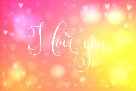 Abstract smooth blur yellow and pink background with heart-shaped lights over it and hand written I love you words.