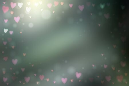 Abstract smooth blur gray background with small heart-shaped lights over it.