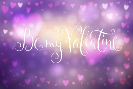 Abstract smooth blur purple background with heart-shaped lights over it and hand written Valentines day greetings.