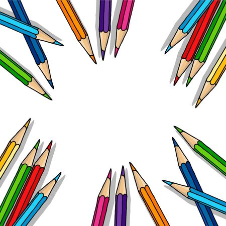 Hand drawn vector doodle scattered color pencils blank frame. Art and drawing multicolor crayon stationary border isolated over white.