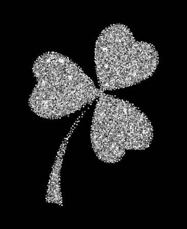 Illustration vectorielle de feuille de trèfle à paillettes d'argent isolée sur fond noir. Objets de la Saint-Patrick.