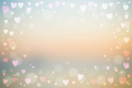 Abstract smooth blur beige background with small heart-shaped lights over it. Romantic vector illustration. 写真素材 - 141962455