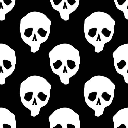 Vector Halloween doodle skulls seamless pattern in black and white. Design background for party poster. Hand drawn cartoon illustration.