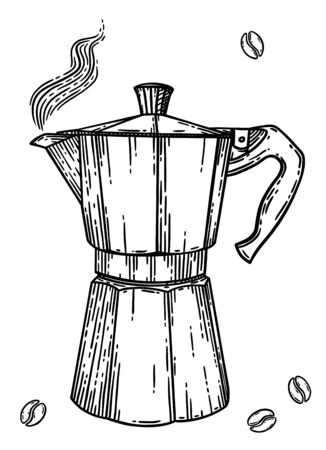 Italian coffee maker or moka pot, espresso machine, mocha express. Hand drawn vector illustration in vintage engraved style, black isolated over white.
