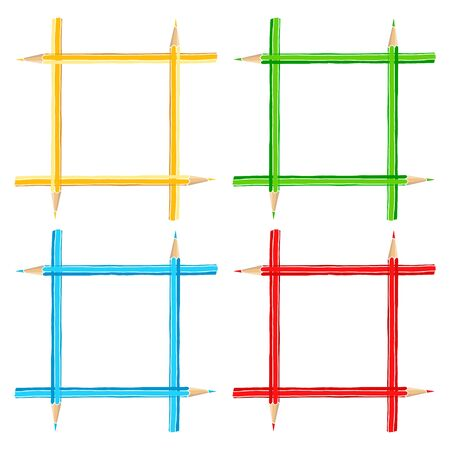 Colorful pencils hand drawn vector doodle illustration blank square frames set. Stationery crayon borders isolated over white.