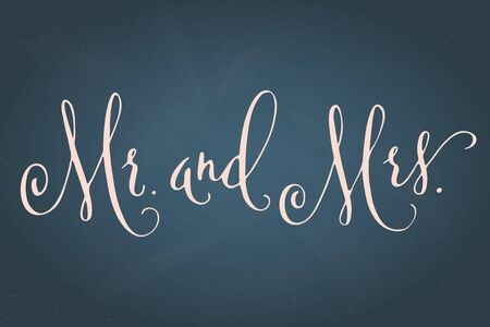 Mr and Mrs, wedding words. Hand written vector design element in white over textured muted blue background. Traditional calligraphy.