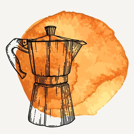 Italian coffee maker or moka pot, espresso machine, mocha express. Hand drawn vector illustration in vintage engraved style over brown watercolor circle.