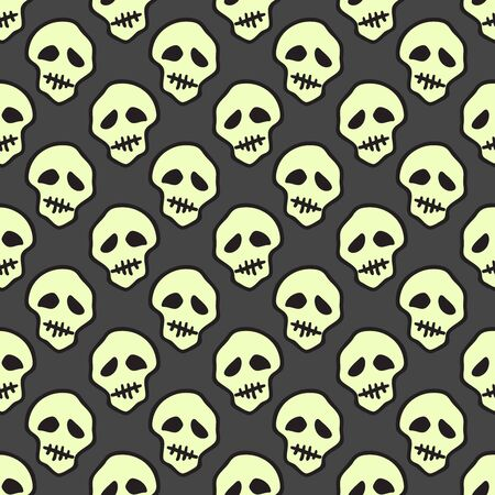Vector Halloween doodle skulls seamless pattern. Design background for party poster. Hand drawn cartoon illustration. Objects isolated over dark grey.