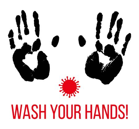 Wash your hands. Black palm prints and red coronavirus. Stop Covid-19. Hygiene handprint vector illustration isolated over white background.