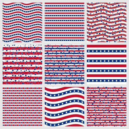Set of American patriotic stars and stripes seamless patterns in red, blue and white. Independence Day vector backgrounds. Иллюстрация