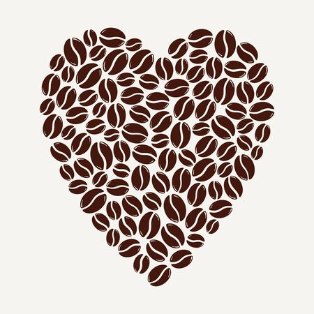Group of roasted coffee beans forming a heart, love caffeine symbol. Hand drawn graphic vector illustration isolated on white background.  イラスト・ベクター素材