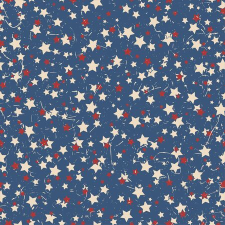 American patriotic stars textured seamless pattern in vintage colors. Independence day vector background.