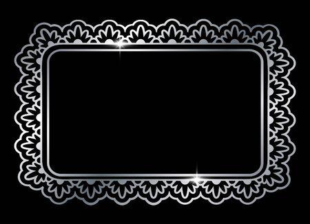 Silver shiny glowing ornate rectangle frame isolated over black. Metal metal luxury elegant blank border. Vector background illustration template. Çizim
